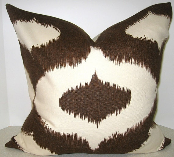 BOTH SIDES Brown Ikat Pillow Cover 20 x 20 Duralee Dalesford