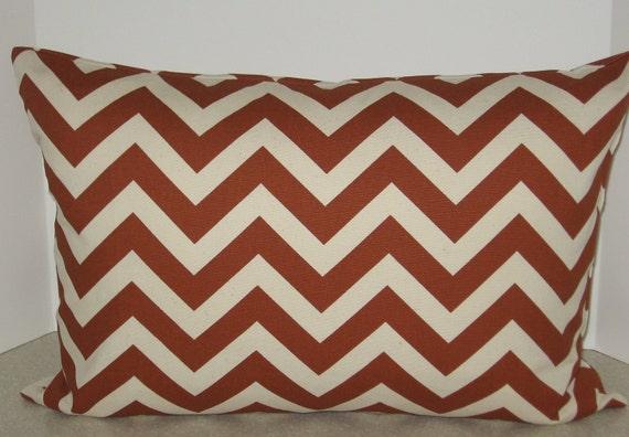 BOTH SIDES 20 x 14 lumbar zigzag zig zag chevron pillow cover burnt orange rust cream