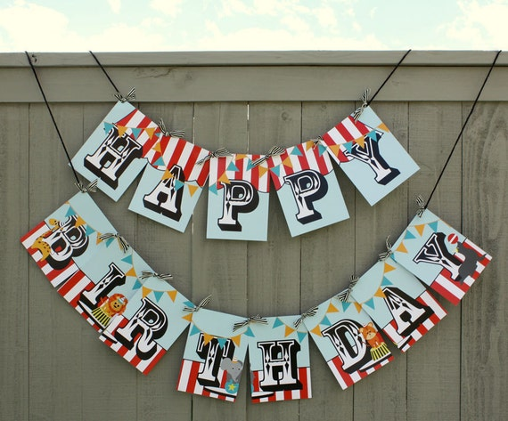 Circus/ Carnival Happy Birthday Party Banner- Printed and Shipped CLEARANCE