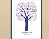 Traditional Thumbprint Wedding Tree Print -  20x30 - 200 signatures - Finger Print Guest Book Poster - Custom Colors