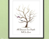 PRINTABLE Fingerprint Baby Shower Tree - Thumb Print Guest Book Printable PDF File -  Love Birds and Nested Baby Bird - 11x14