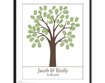 Thumb Print Guest Book - Finger Print Tree -  11x14 - 50 Signature Guestbook Keepsake Poster