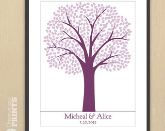 Traditional Wedding Tree - Finger Print Guest Registry Print -  30x40 - Fits more than 400 signatures - Guestbook Keepsake Poster