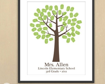 Teacher Appreciation Fingerprint Keepsake Art Print -  11x14