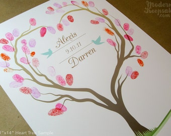Fingerprint Wedding Tree - Thumb Print Guest Book Print -  Heart Shaped Tree with Love Birds - 11x14 - 50 Signature Guestbook Poster