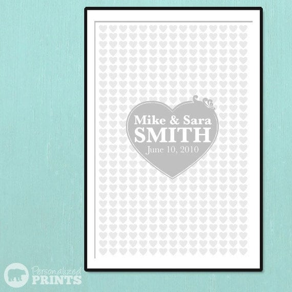 Fancy Wedding Hearts Keepsake Print - 24x36 - 360 Signature Guestbook Poster