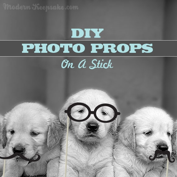 DIY Photobooth Party On A Stick Prop Set - Printable Digital File
