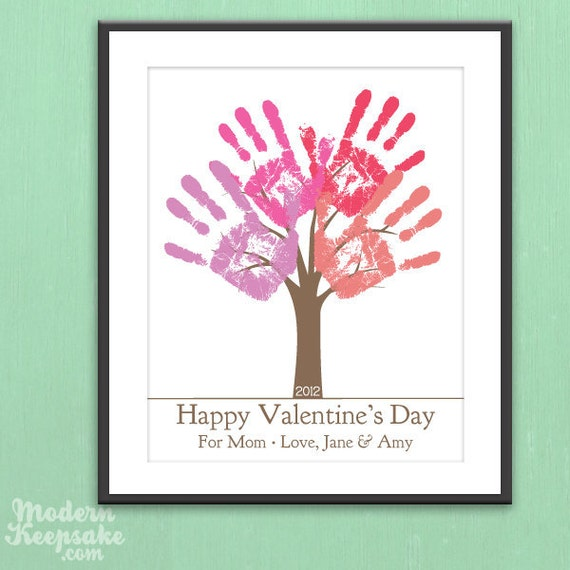 DIY Personalized Valentine's Day Gift - Child's Handprint Tree - Printable pdf Kids Holiday Craft Project