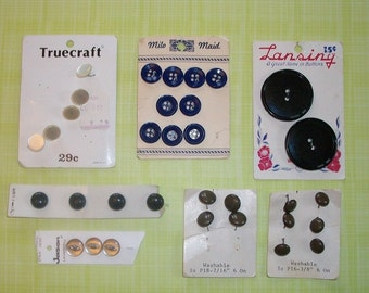 Lot Of 7 Vintage Button Cards