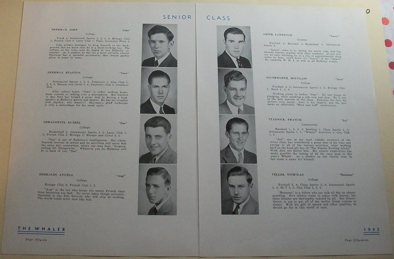 Funny Yearbook Pages: Vintage 1942 High School Yearbook Pages For Collage Altered