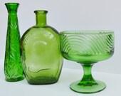 Vintage Green Vase and Green Compote Vintage green vase collection