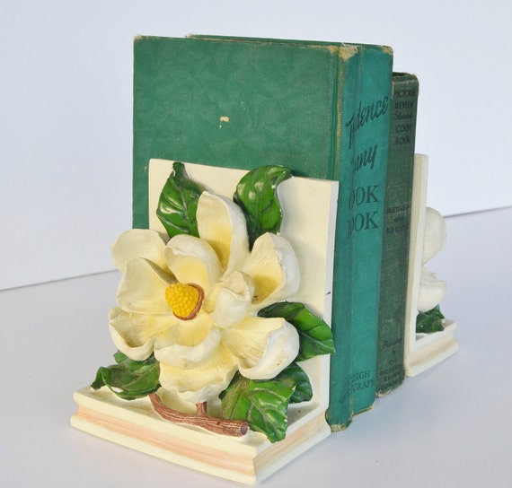 Bookends white Magnolia Flower Bookends Vintage Bookends