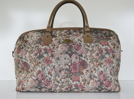 Vintage Floral Print Carry On Bag Jordache Luggage Weekender Bag