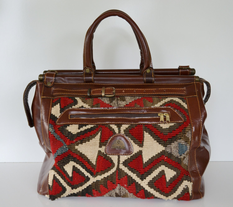 Vintage Carpet Bag Kilim Tapestry Weekender Bag