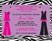 Pajama and Spa party birthday invitation