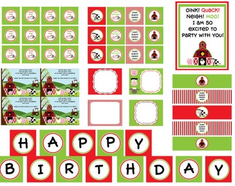 INSTANT DOWNLOAD Barnyard Birthday Bash Printable Party Package.  DIY Farm Themed Party Package.