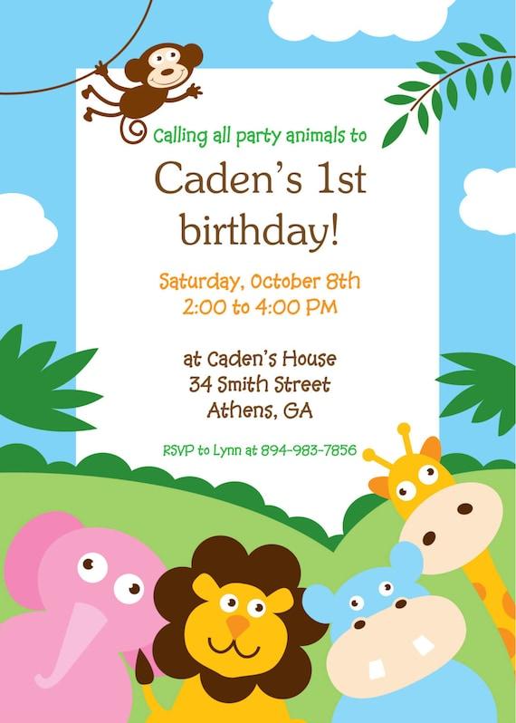 Items similar to Printable Jungle Theme birthday or baby shower – Jungle Theme Birthday Invitations