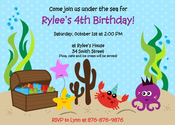 items similar to under the sea printable birthday party invitation on etsy - Under The Sea Party Invitations