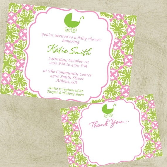 COMBO Special:  Damask Baby Shower Invite and Thank You card