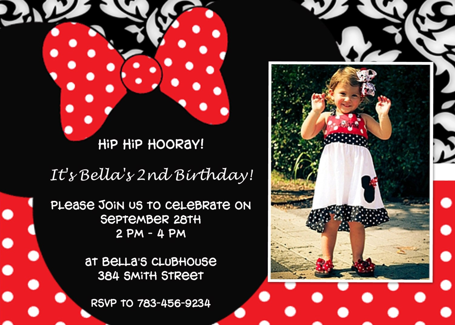 Perfect Minnie Mouse Birthday Invitation – Minnie Mouse Birthday Invitation