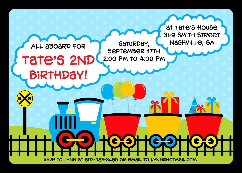 train birthday party invitation colorful train invitation, Birthday invitations