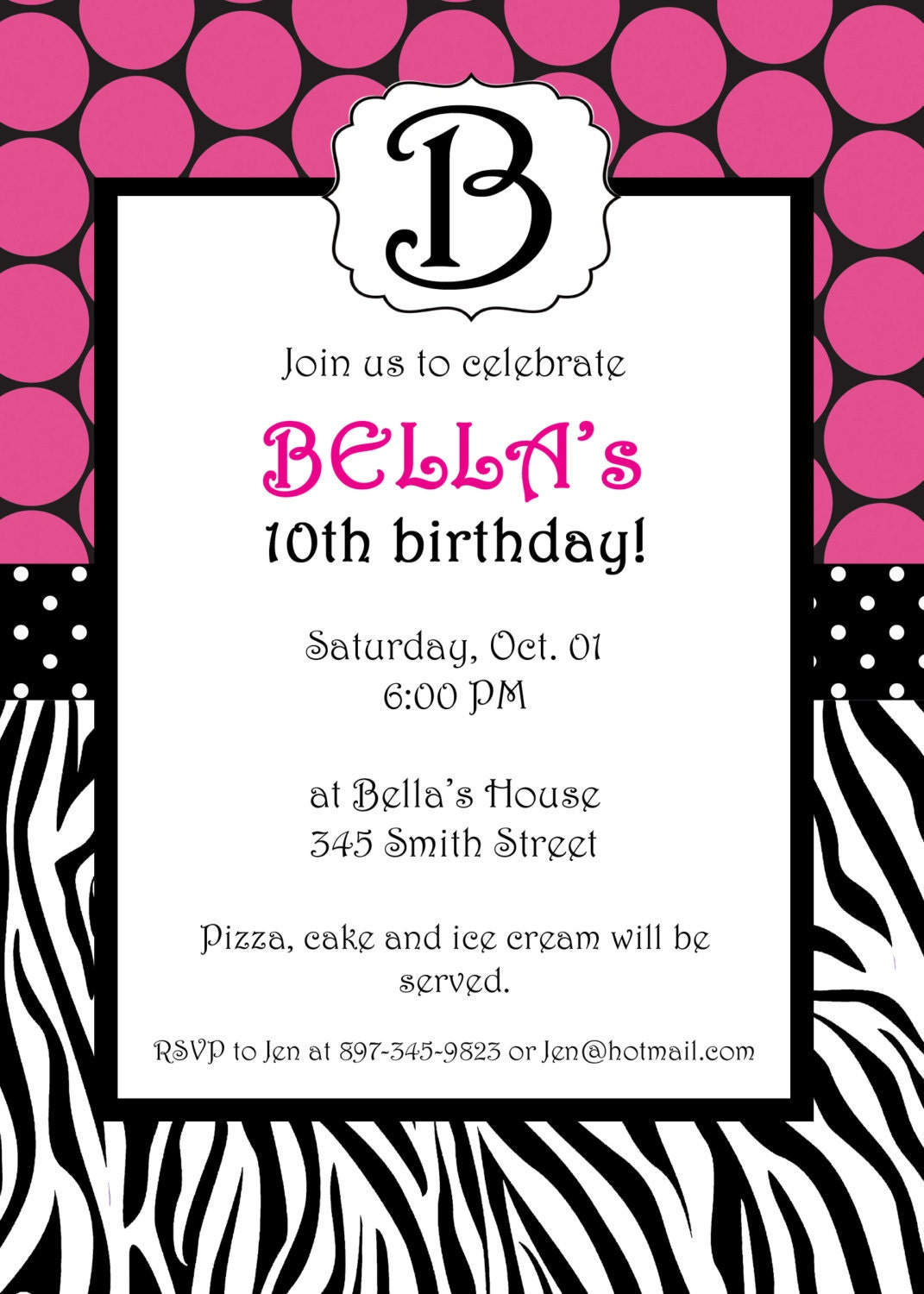 zebra birthday party invitation wording ~ image inspiration of, Birthday invitations