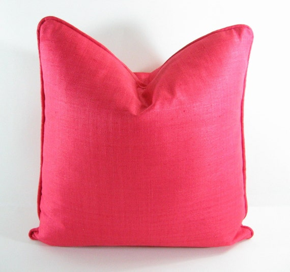 """RED CORAL PILLOW Cover - 18"""" X 18"""" in Silk Linen, Fully Lined, 1/4""""  Self Welt"""