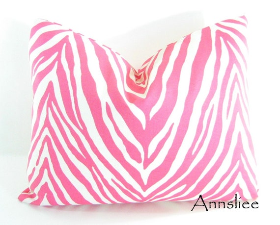 """PINK OUTDOOR PILLOW Cover - 16"""" X 20"""" In a Pink and White Zebra Pattern"""
