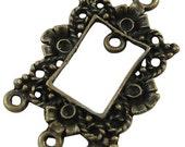 Four Antique Bronze Rectangle Chandelier Component or Pendant