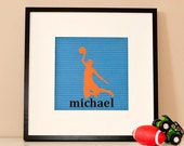 Modern Children's Paper Wall Art - Basketball Player Silhouette 2 or Personalized - 12 x 12 - Orange and Blue or Custom Color