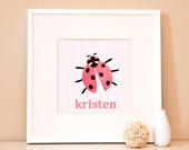 Modern Children's Paper Wall Art - Whimsical Ladybug or Personalized Whimsical Ladybug - 12 x 12 - Pink and Brown or Custom Color