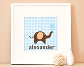 Modern Children's Paper Wall Art - Elephant Squirting Water or Personalized - 12 x 12 - Blue and Brown or Custom Color