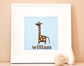 Reserved for Lucia Ip - Modern Children's Paper Wall Art - Personalized Giraffe Standing Tall  with Frame - Custom Color