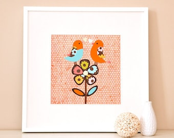 Modern Children's Paper Wall Art - Birds Singing on a Flower - 12 x 12 - Orange and Blue or Custom Color