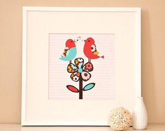 Modern Children's Paper Wall Art - Birds Singing on a Flower or Personalized - 12 x 12 - Pink and Blue or Custom Color