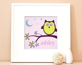 Modern Children's Paper Wall Art - Personalized Woodland Owl on a Branch 2 - 12 x 12 - Pink and Green or Custom Color