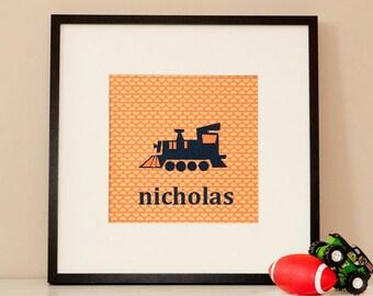 Modern Children's Paper Wall Art - Choo Choo Train or Personalized Choo Choo Train - 12 x 12 - Orange and Blue or Custom Color