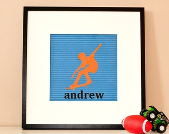 Modern Children's Paper Wall Art - Skateboarder in Action Silhouette 2 or Personalized - 12 x 12 - Orange and Blue or Custom Color
