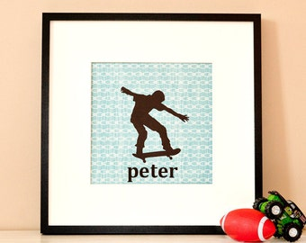 Modern Children's Paper Wall Art - Skateboarder in Action Silhouette 1 or Personalized - 12 x 12 - Blue and Brown or Custom Color