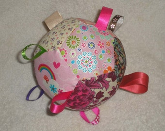 Baby patchwork rattle ball with taggies- floral vintage and new fabrics, pinks/greens/vibrant colours