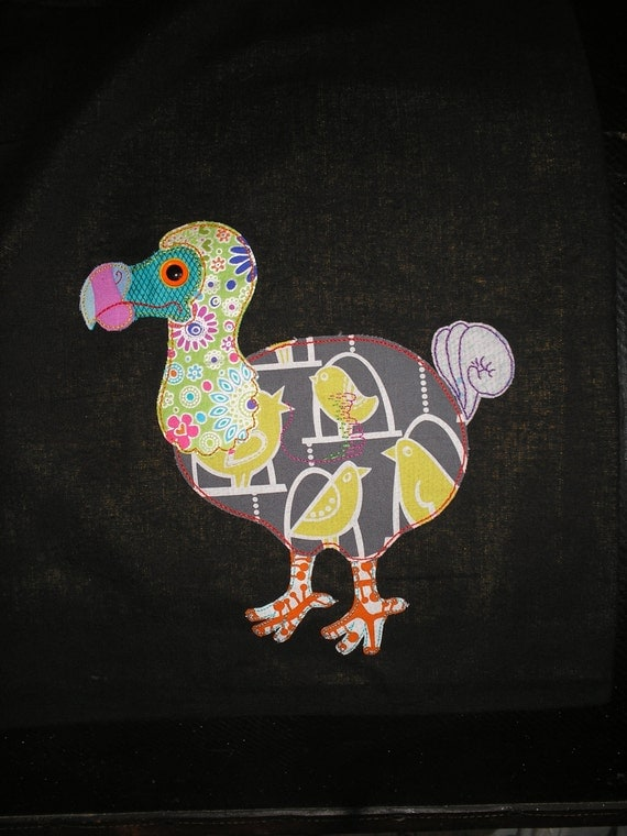 Dodo applique lined tote bag, handsewn and unique, vibrant colours