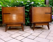 RESERVED for Steve - PAIR mid century Modern walnut end tables NIGHTSTANDS