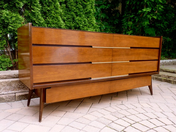 RESERVED for Seandra -- mid century Modern walnut CREDENZA dresser MEDIA Stand