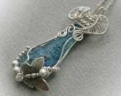 Dreaming A Butterfly - silver plated wire woven pendant with handmade fused glass