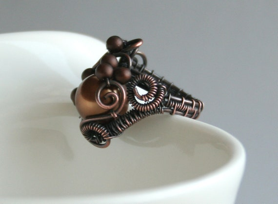 Morning Coffee - freeform wire wrapped woven copper statement ring with coffee brown glass pearl beads - size 7