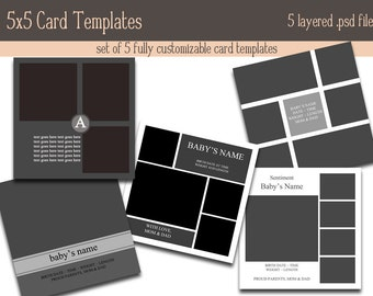 5x5 Card Template combo pack INSTANT DOWNLOAD