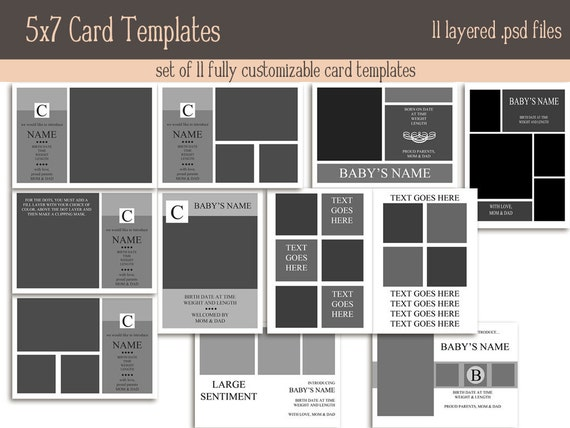 Huge 5x7 card template set instant download for 5x7 postcard mailing template