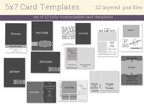 12 5x7 card templates instant download for 5x7 postcard mailing template