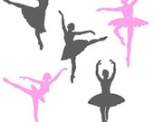 Ballerina Wall Decals -  Set of 5 - Many Color Choices