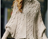 ENGLISH Knitting Pattern Women Poncho with Long Puffy Sleeves and Cables PDF